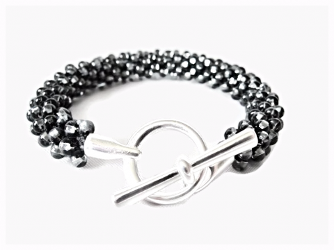 Silvery Black Diamond Kumihimo Beaded Fashion Bracelet